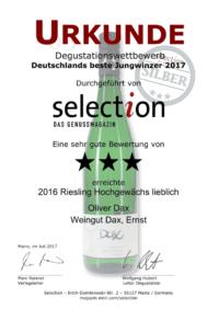 Deutschlands beste Jungwinzer 2017 - selection DAS GENUSSMAGAZIN - Grauburgunder trocken 2016