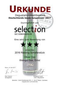 Deutschlands beste Jungwinzer 2017 - selection DAS GENUSSMAGAZIN - Riesling Schieferstück 2016