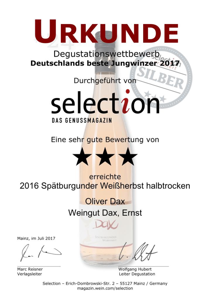Deutschlands beste Jungwinzer 2017 - selection DAS GENUSSMAGAZIN - Spätburgunder Weißherbst halbtrocken 2016